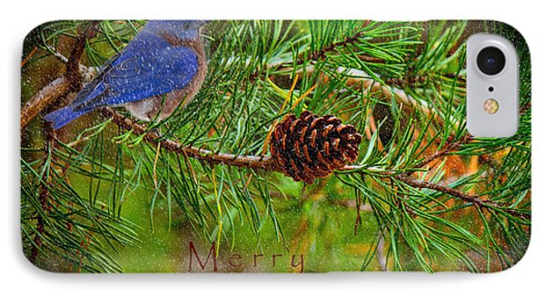 Merry Christmas Card With Bluebird IPhone Case