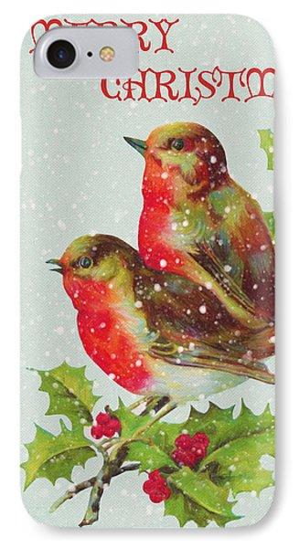 Merry Christmas Snowy Bird Couple IPhone Case by Sandi OReilly