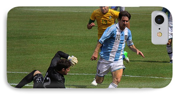 Messi Breaking Ankles IPhone Case by Lee Dos Santos