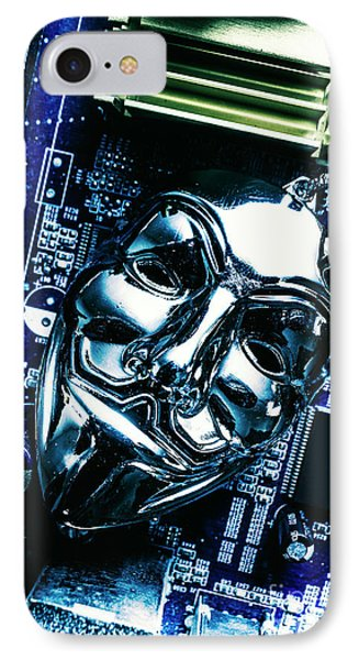 Metal Anonymous Mask On Motherboard IPhone 7 Case