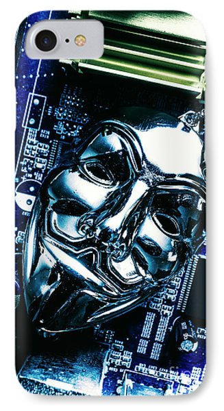Metal Anonymous Mask On Motherboard IPhone Case by Jorgo Photography - Wall Art Gallery