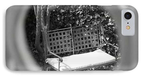 Metal Bench In Sedona IPhone Case by Claudia Goodell