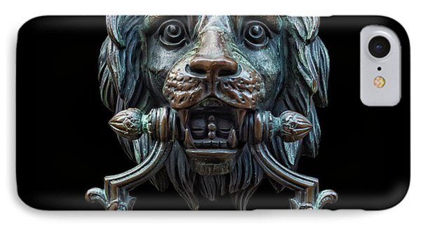 IPhone Case featuring the photograph Metal Lion Head Doorknocker Isolated Black by Antony McAulay