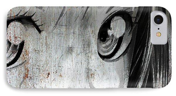 Metallic Anime Girl Eyes 2 Black And White IPhone Case