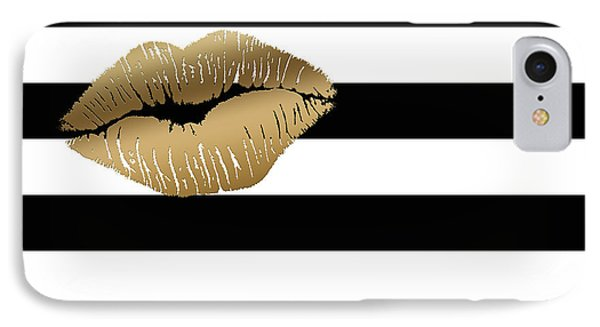 Metallic Gold Lips Black And White Stripes IPhone Case by Georgeta Blanaru