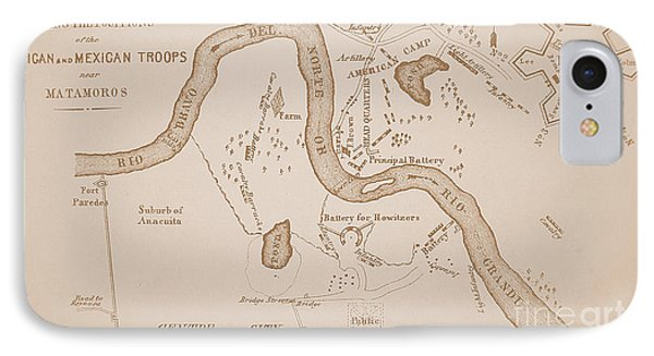 Mexican-american War Map Of Us Troops Near Rio Grande And Matamoros, 1849  IPhone Case by American School