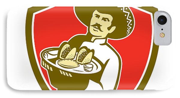 Mexican Chef Cook Serving Taco Plate Shield IPhone Case