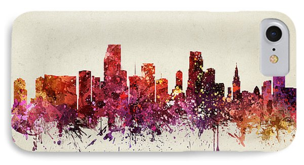 Miami Cityscape 09 IPhone Case by Aged Pixel