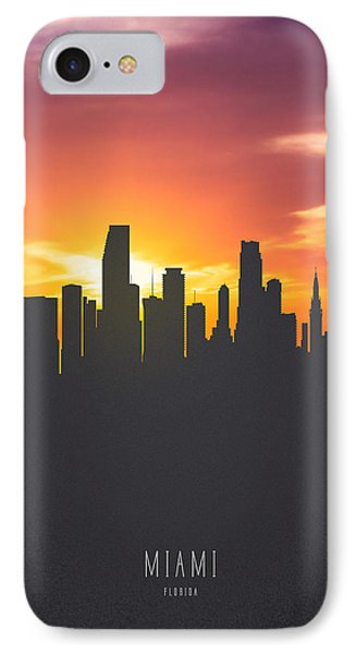 Miami Florida Sunset Skyline 01 IPhone 7 Case by Aged Pixel