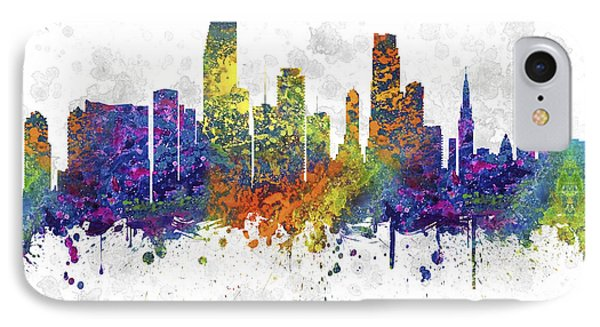 Miami Florida Skyline Color 03sq IPhone Case by Aged Pixel