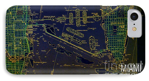 Miami Map 1950 Blue And Green IPhone Case by Pablo Franchi