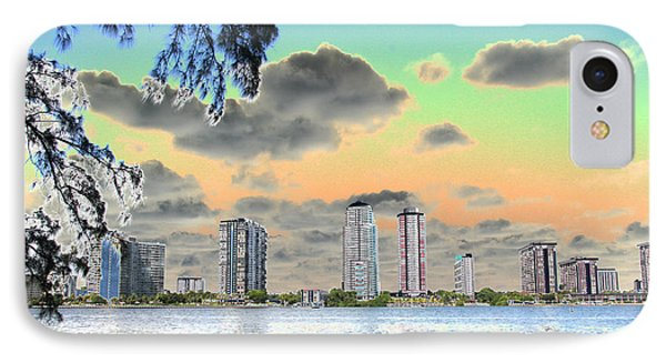 Miami Skyline Abstract IPhone Case by Christiane Schulze Art And Photography