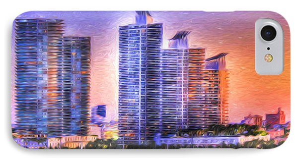 IPhone Case featuring the photograph Miami Skyline Sunrise by Shelley Neff