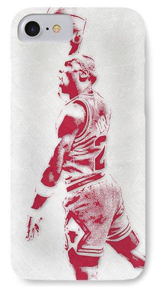 Michael Jordan Chicago Bulls Pixel Art 3 IPhone 7 Case by Joe Hamilton