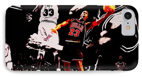 Michael Jordan Going Left Hand IPhone Case by Brian Reaves