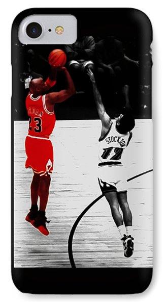 Michael Jordan Over John Stockton IPhone Case by Brian Reaves