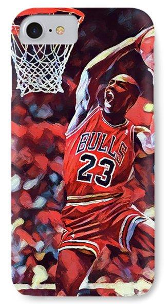 Michael Jordan Slam Dunk IPhone Case by Dan Sproul