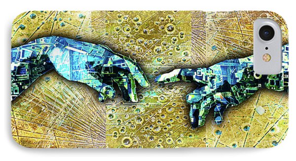 IPhone Case featuring the mixed media Michelangelo's Creation Of Man by Tony Rubino