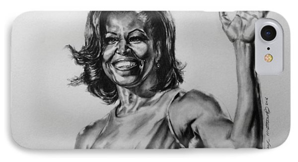 IPhone Case featuring the painting  Michelle Obama  by Darryl Matthews