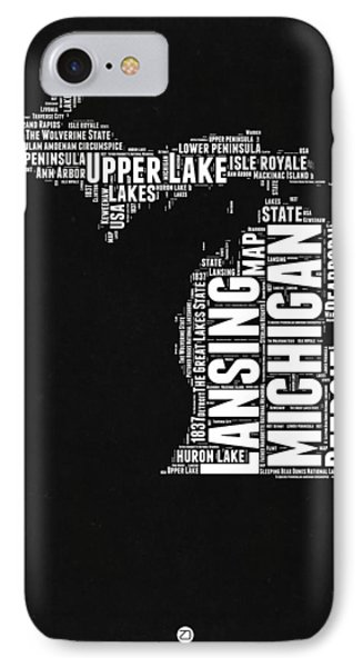 Michigan Black And White Word Cloud Map IPhone Case by Naxart Studio