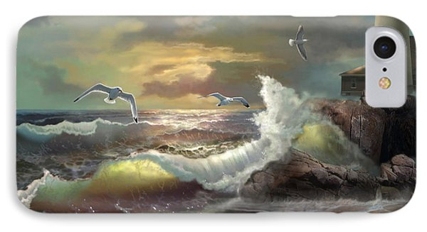 Michigan Seul Choix Point Lighthouse With An Angry Sea IPhone 7 Case