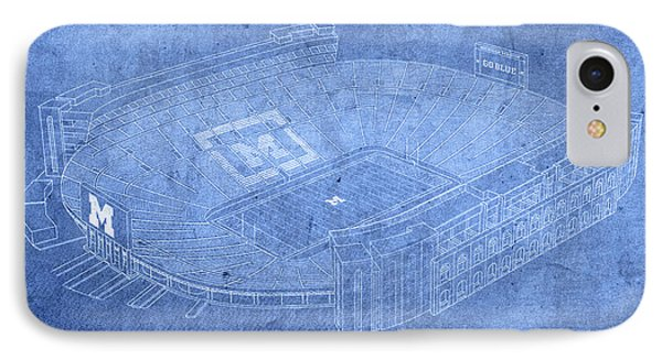 Michigan Stadium Wolverines Ann Arbor Football Field Big House Blueprints IPhone Case