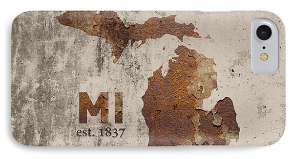 Michigan State Map Industrial Rusted Metal On Cement Wall With Founding Date Series 005 IPhone Case