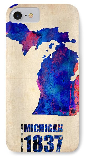 Michigan Watercolor Map Phone Case by Naxart Studio