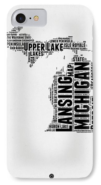 Michigan Word Cloud Map 2 IPhone Case by Naxart Studio
