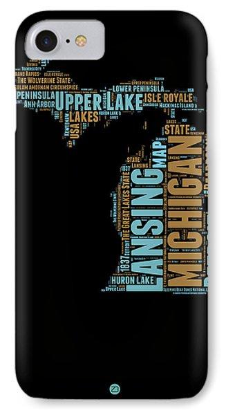 Michigan Word Cloud Map1 IPhone Case by Naxart Studio