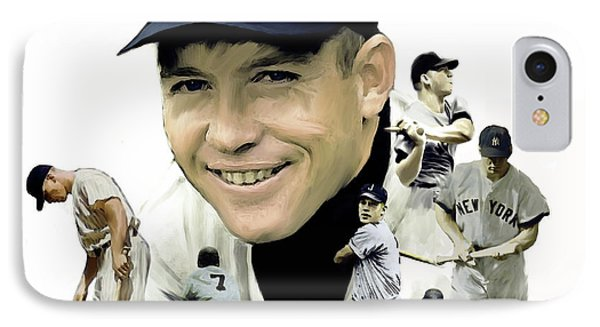 IPhone Case featuring the painting Mickey Mantle Legacy, II  by Iconic Images Art Gallery David Pucciarelli