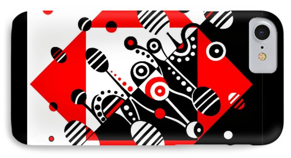 Microgravity - Red And Black Phone Case by Deyana Deco