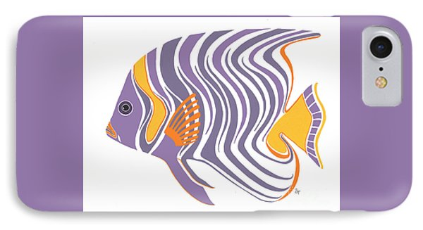 Mid Century Purple Fish IPhone Case by Stephanie Troxell