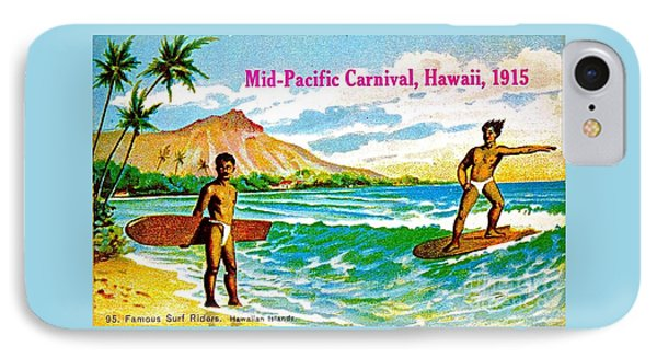 Mid Pacific Carnival Hawaii Surfing 1915 IPhone Case by Peter Gumaer Ogden