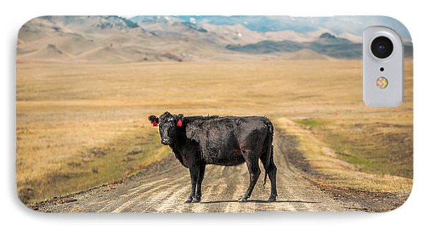 Cow iPhone 7 Case - Middle Of The Road by Todd Klassy