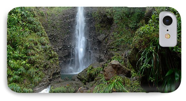 Middleham Waterfall In Dominica Phone Case by Tropical Ties Dominica