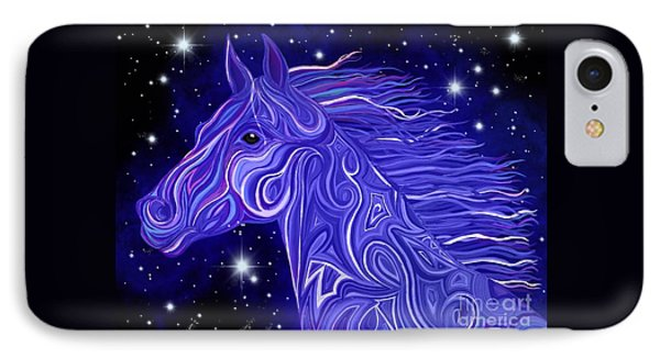 IPhone Case featuring the drawing Midnight Blue Mustang by Nick Gustafson
