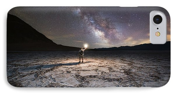 Midnight Explorer At Badwater Basin  IPhone Case
