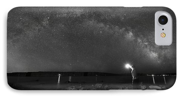 Midnight Explorer At The Waters Edge Bw IPhone Case