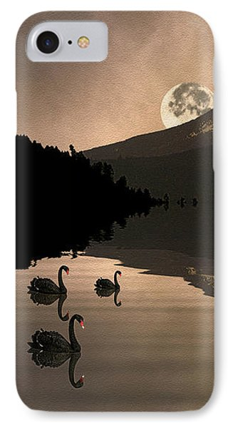 Midnight Moods Swan Lake In The Moonlight IPhone Case by Diane Schuster