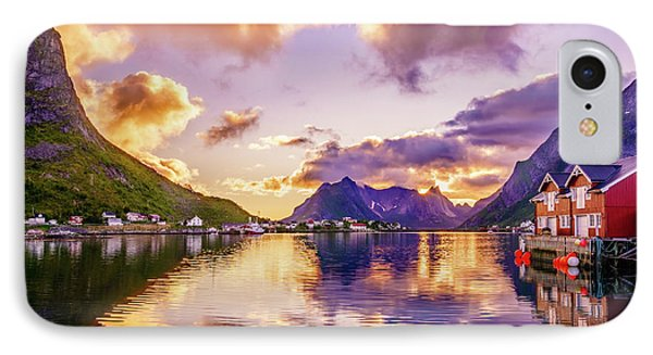 IPhone Case featuring the photograph Midnight Sun Reflections In Reine by Dmytro Korol