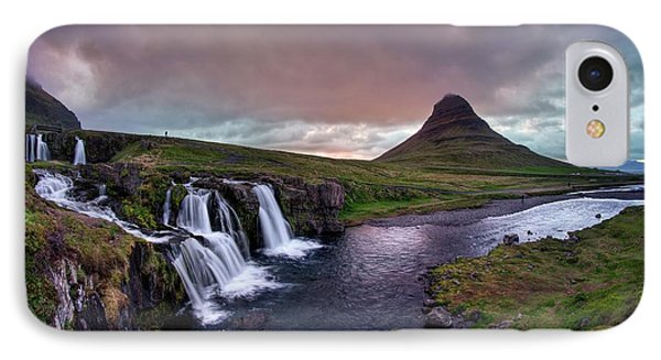 IPhone Case featuring the photograph Midnight Sunset At Kirkjufellsfoss by Peter Thoeny