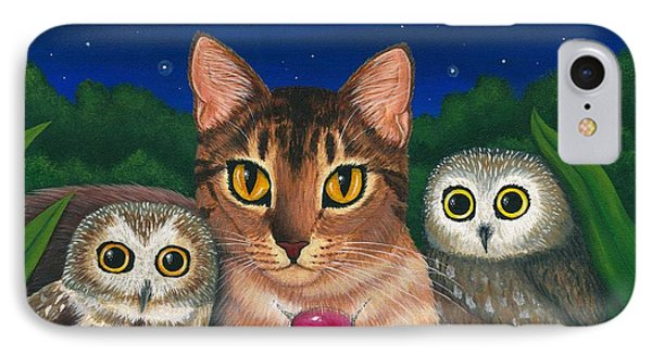 IPhone Case featuring the painting Midnight Watching - Abyssinian Cat Saw Whet Owls by Carrie Hawks