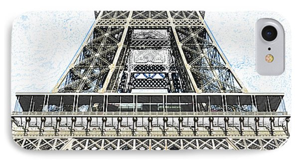 Midsection First And Second Levels Of The Eiffel Tower Paris France Colored Pencil Digital Art IPhone Case by Shawn O'Brien