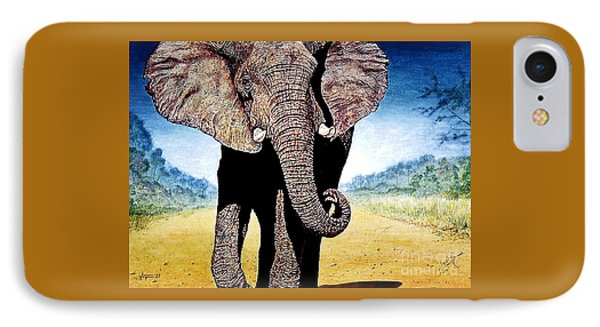 IPhone Case featuring the painting Mighty Elephant by Hartmut Jager