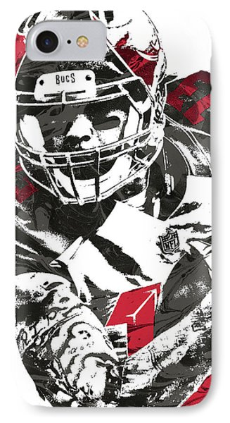 IPhone Case featuring the mixed media Mike Evans Tampa Bay Buccaneers Pixel Art by Joe Hamilton