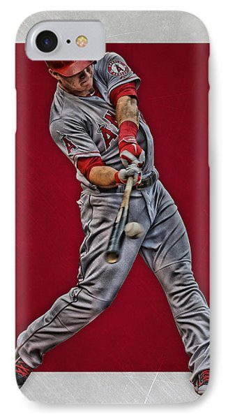 Mike Trout Los Angeles Angels Art 1 IPhone Case by Joe Hamilton