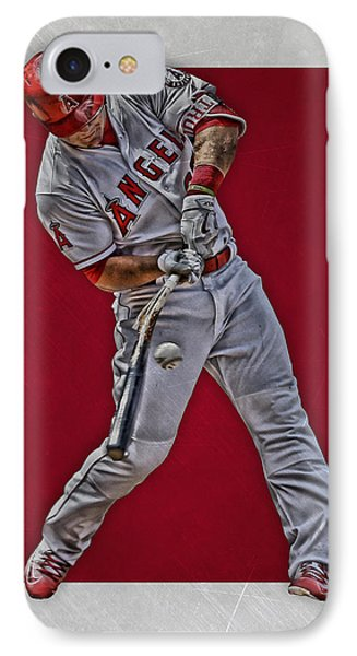 Mike Trout Los Angeles Angels Art 2 IPhone Case by Joe Hamilton