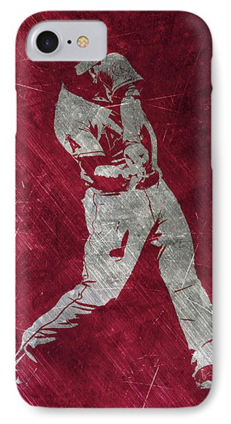 Mike Trout Los Angeles Angels Art IPhone Case by Joe Hamilton
