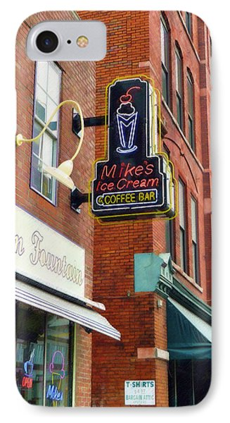 IPhone Case featuring the painting Mike's Ice Cream And Coffee Bar by Sandy MacGowan